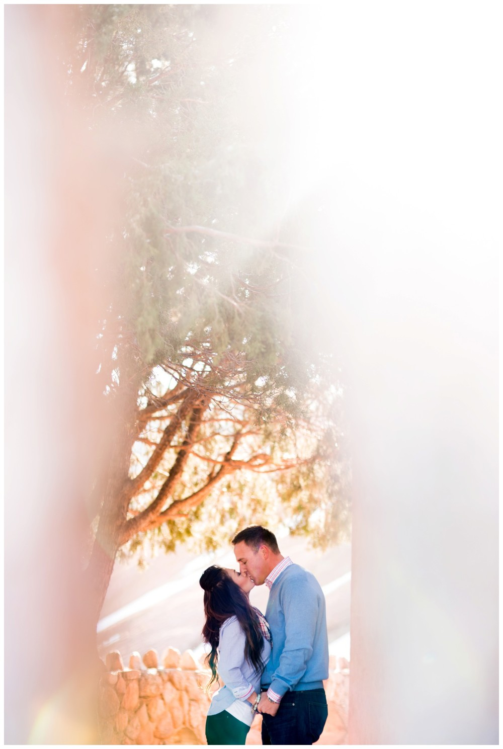 creative engagement photo of couple kissing between trees