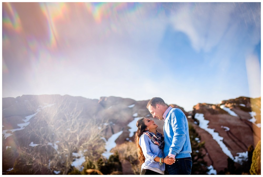engagement photo using prism at Red Rocks Amphitheater