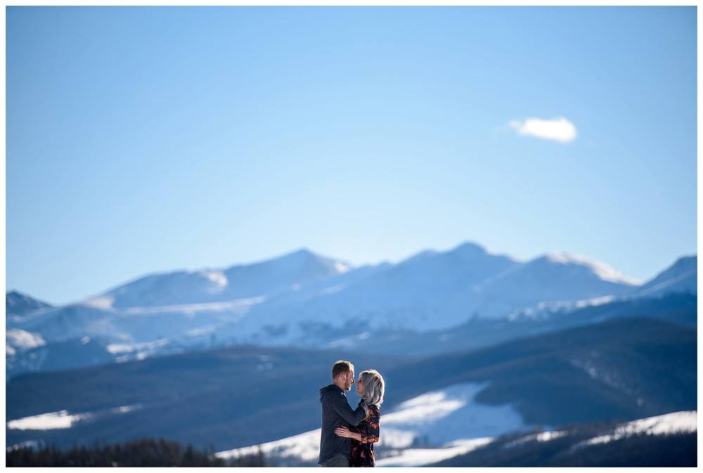 engagement photo on icy Lake Dillon