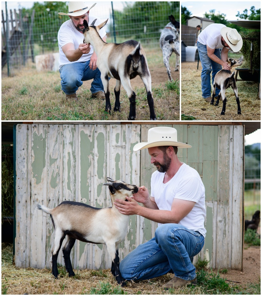 baby goat with farmer in Boulder