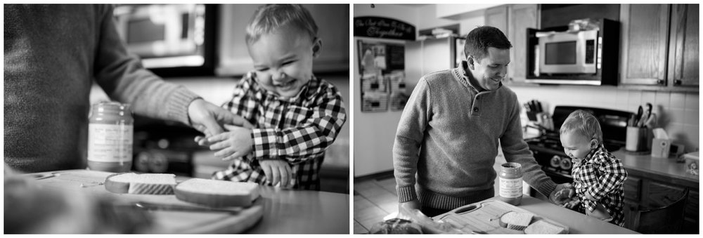 colorado candid family photo of father and son in kitchen
