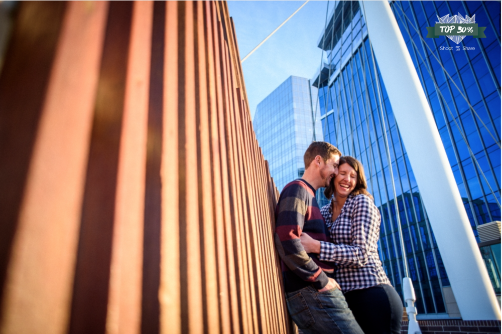 Goofing around for an Urban Engagement session; Millenium Bridge, Downtown Denver, Colorado