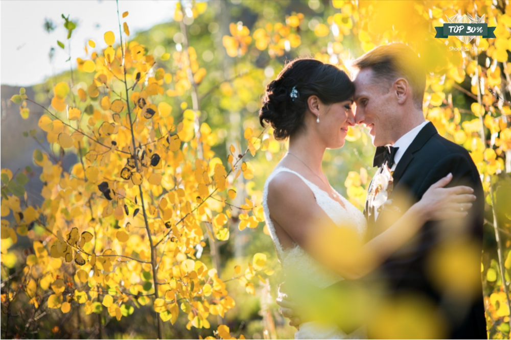 Soaking up the Fall sun in the Aspen trees; Donovan Pavilion Wedding, Vail, Colorado