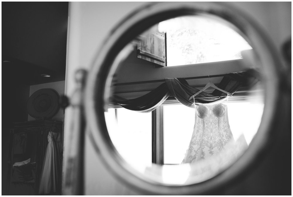 unique reflection photo of wedding dress
