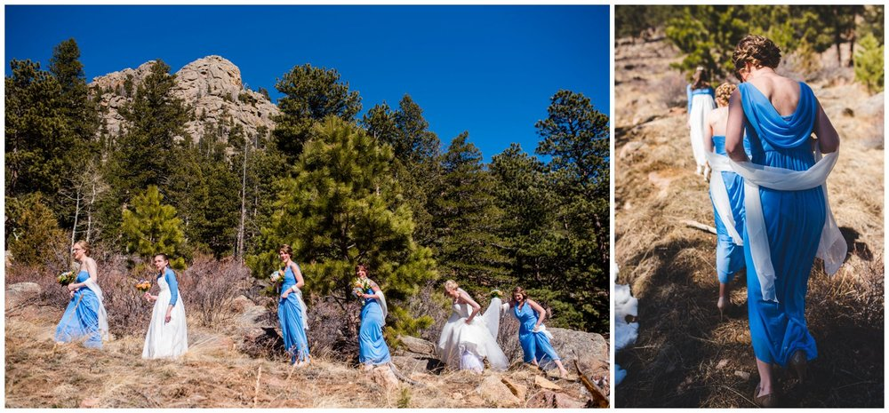 bridesmaids hiking in mountains