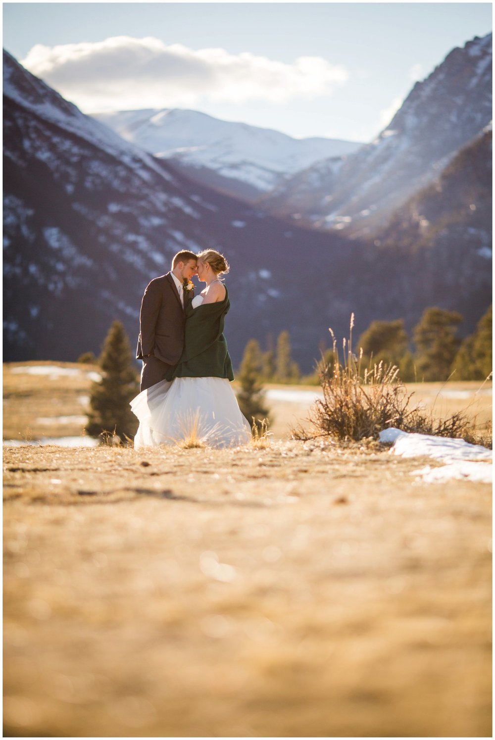 Rocky mountain national Park wedding photo of Bride and Groom