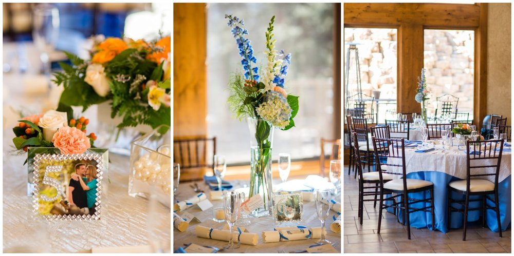 blue and orange wedding table decor and flowers