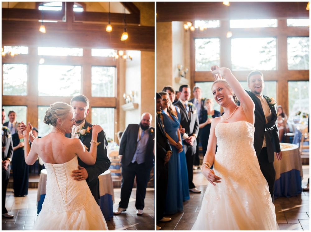 cute first dance photo of bride and groom