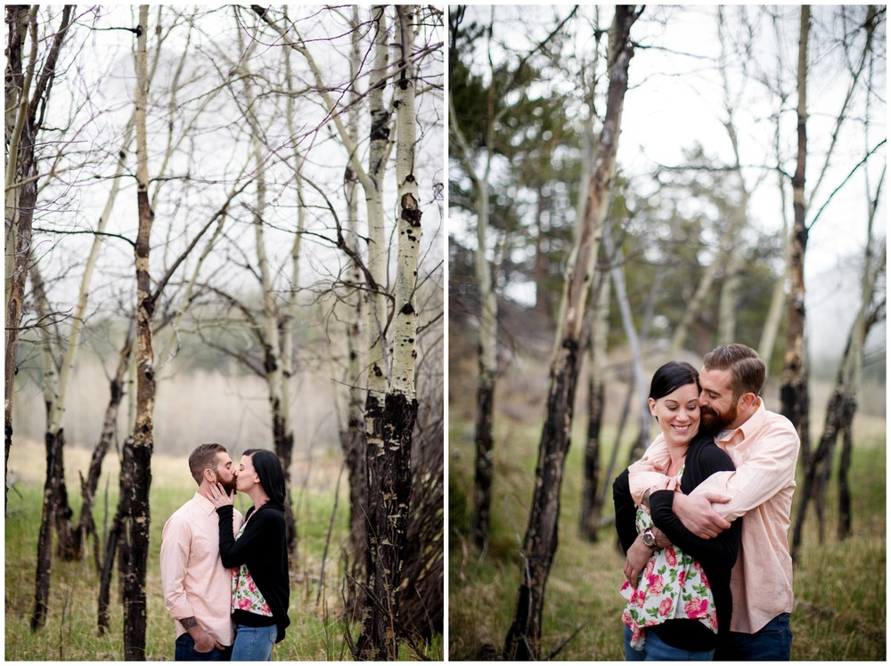 Estes Park winter engagement photos near Aspen trees