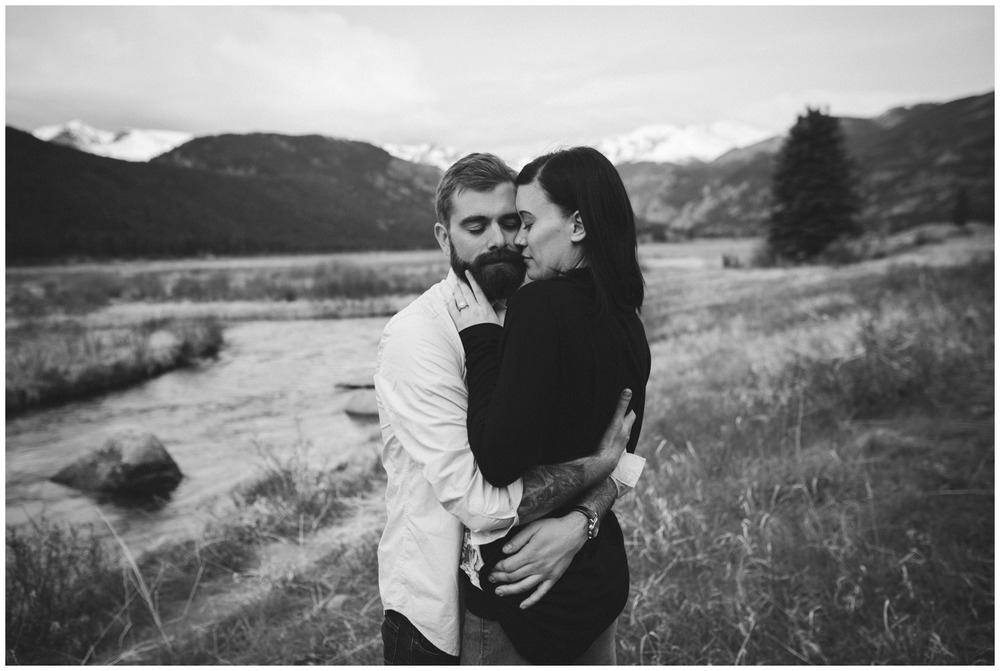 intimate black and white engagement photo
