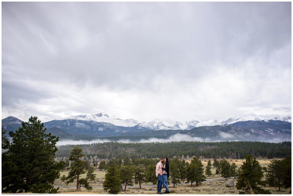 Rocky mountain national park engagement photo on ridge