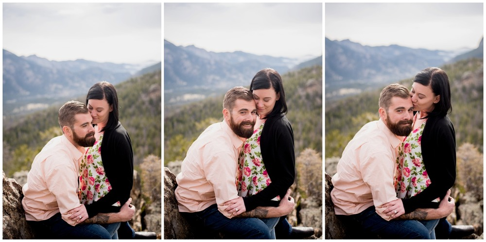 engaged couple on colorado mountain ridge at sunrise