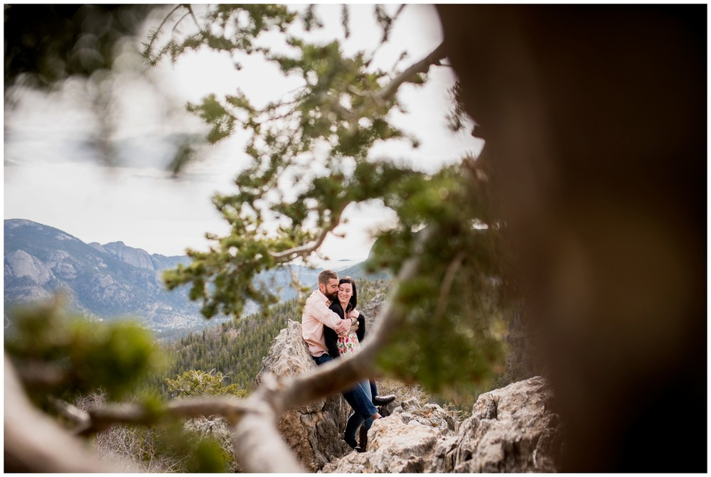 creative colorado engagement photo through trees