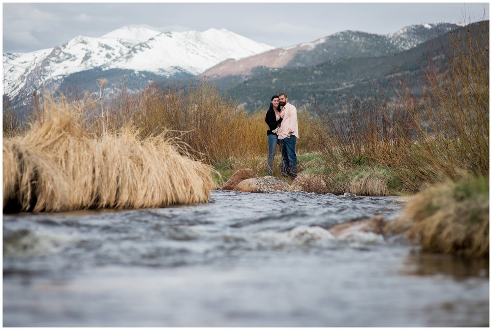Moraine Park engagement photo in front of river
