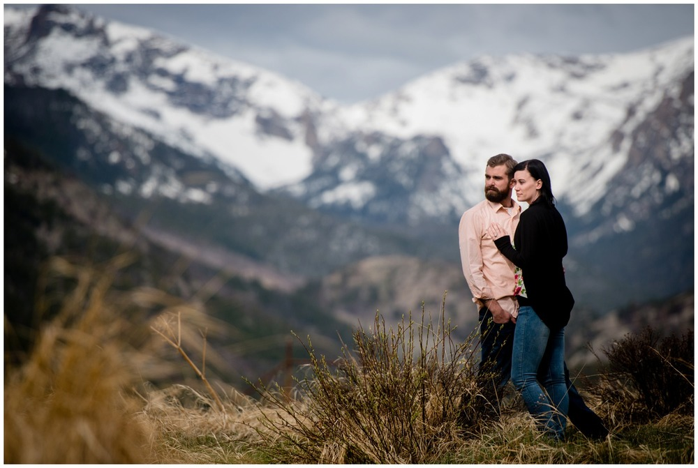couple poses in Moraine Park at Sunrise