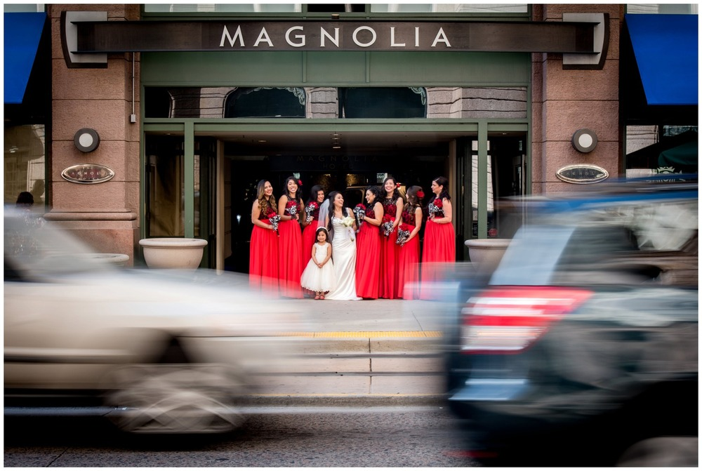 Motion blur city photo of bridesmaids