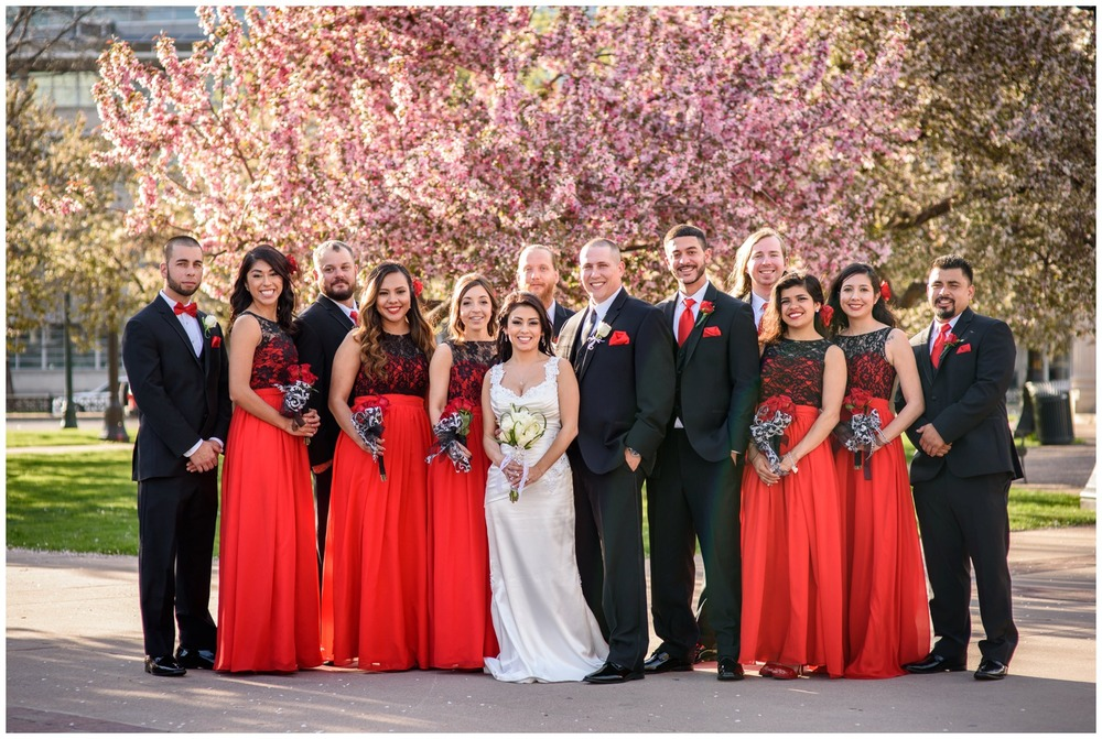 Denver wedding party photo in front of blossoming tree
