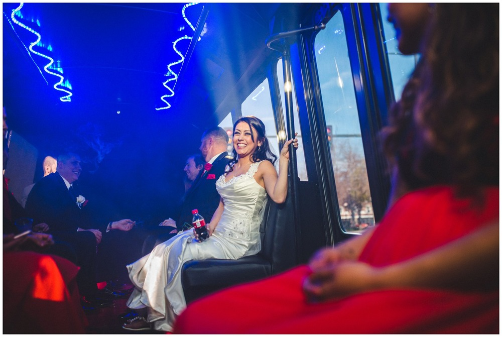 Bride on Party bus on Wedding day