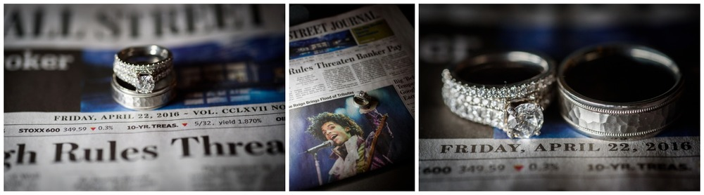 Creative wedding ring images on newspaper with Prince singer article