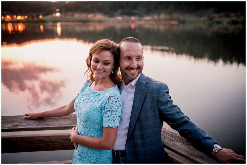 engagement photo Evergreen Lake at sunset