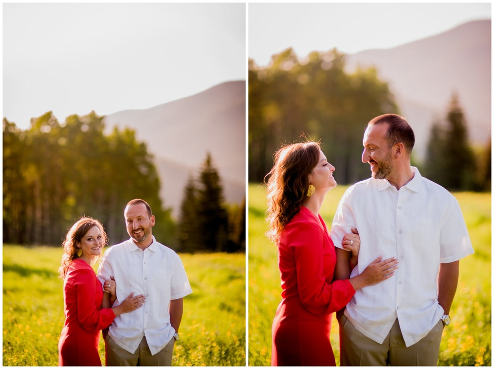 sunset engagement photo in colorado mountain meadow