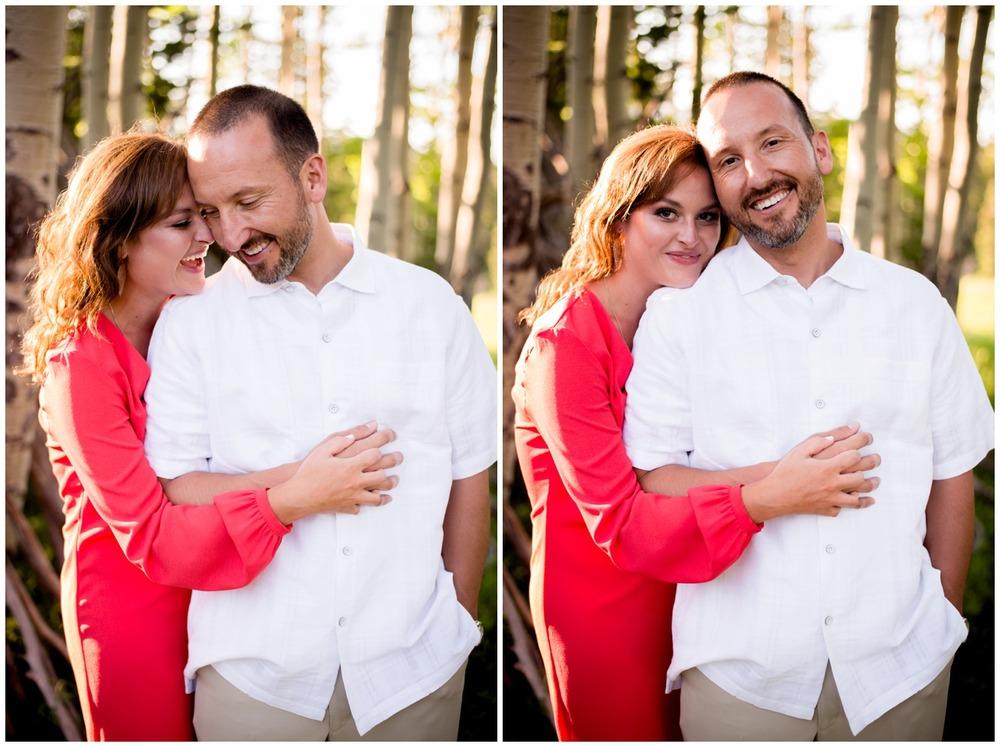 couple hug in Colorado aspen tree forest