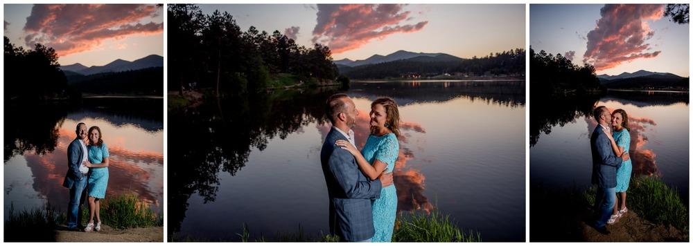 Evergreen colorado sunset engagement photo on lake