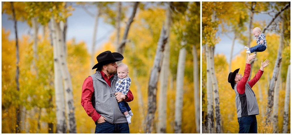 dad with baby in yellow Aspen trees