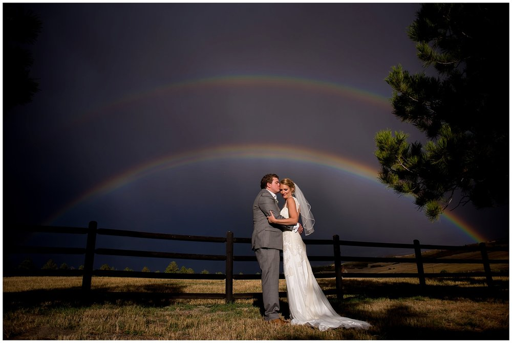 colorado Rainbow over Wedding couple