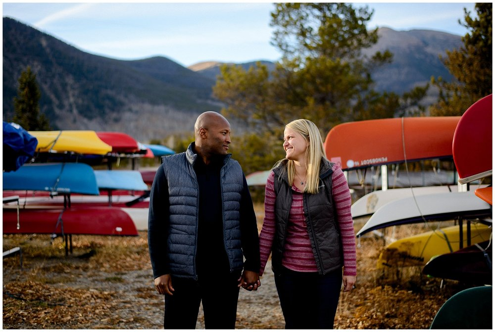 Frisco colorado engagement photo with canoes