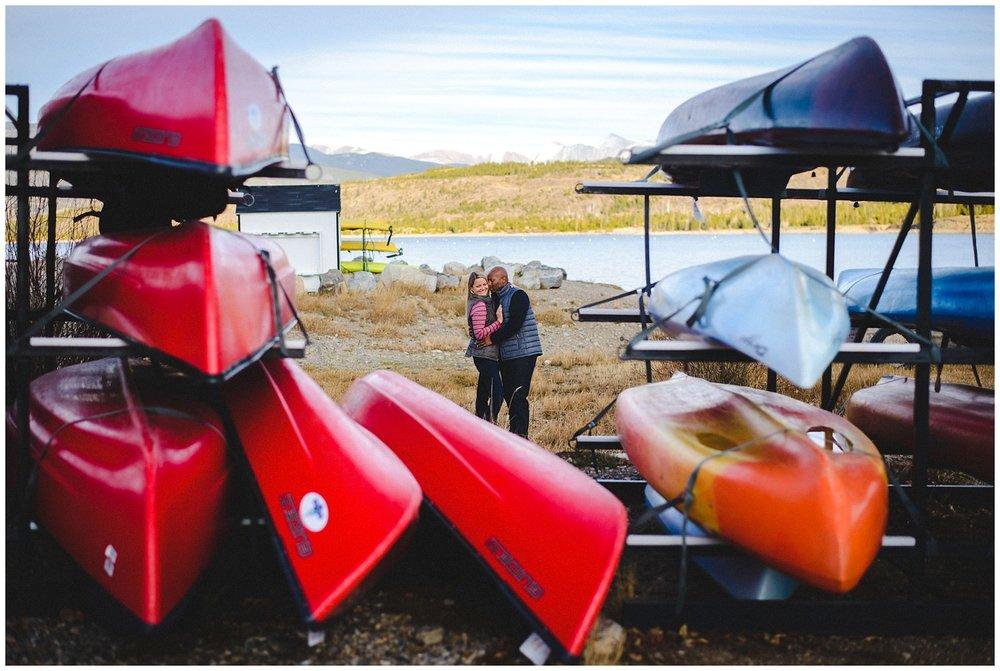 Lake Dillon canoes engagement photo