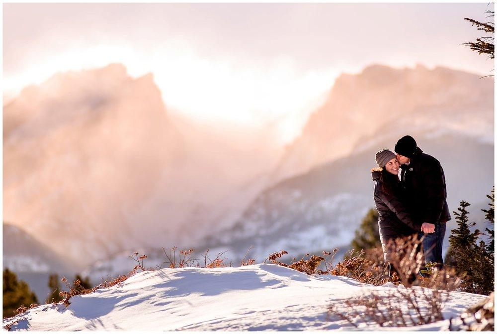 sprague lake winter engagement photo