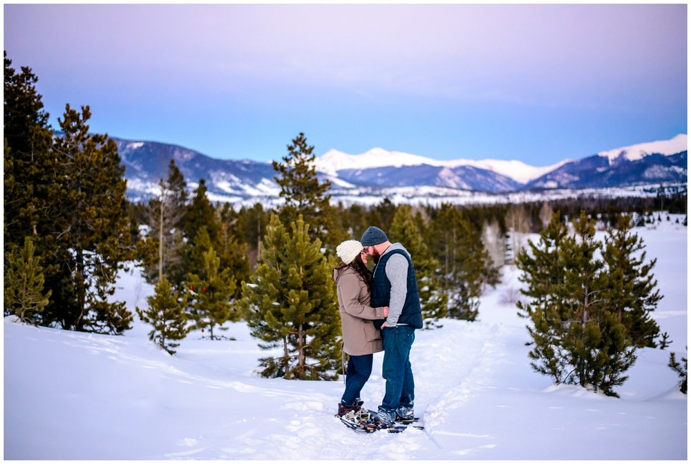 Colorado Winter sunset engagement photo
