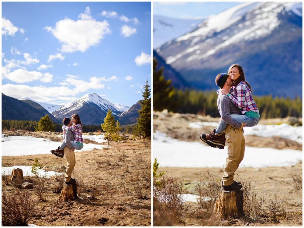 fun colorado mountain engagement photos