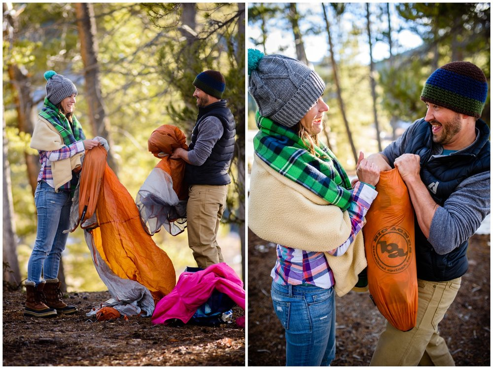 couple packs up campsite together