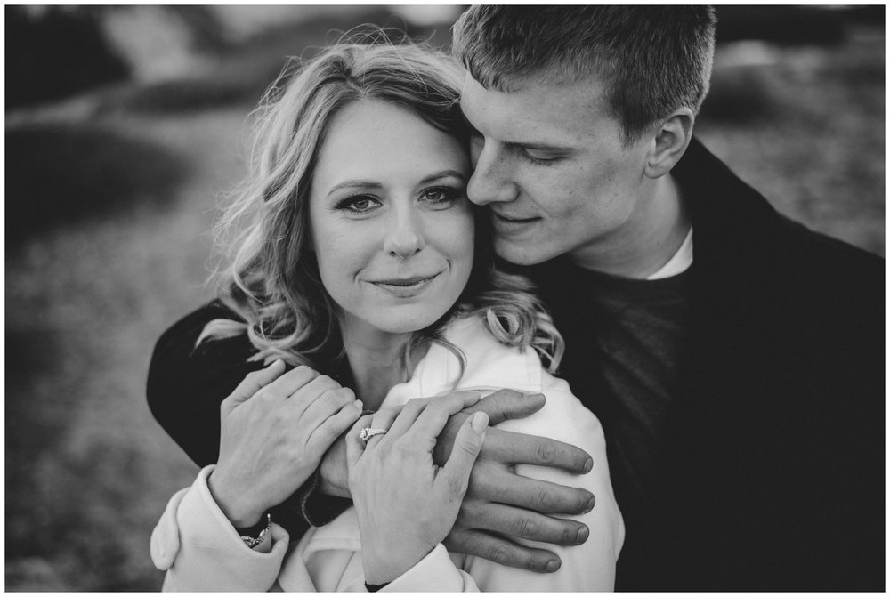 black and white mountain engagement photo