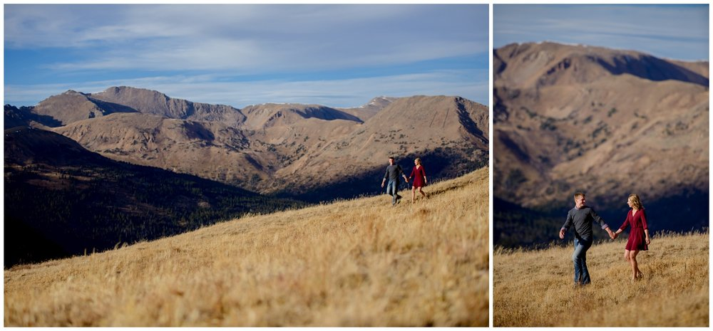 couple walks along Loveland Pass