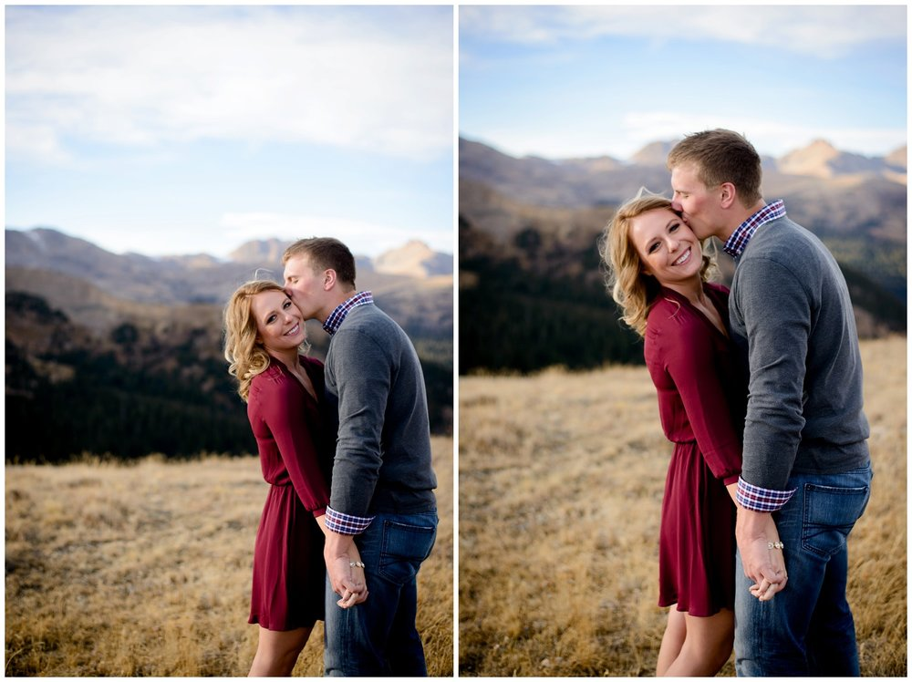cute outdoor engagement photo idea