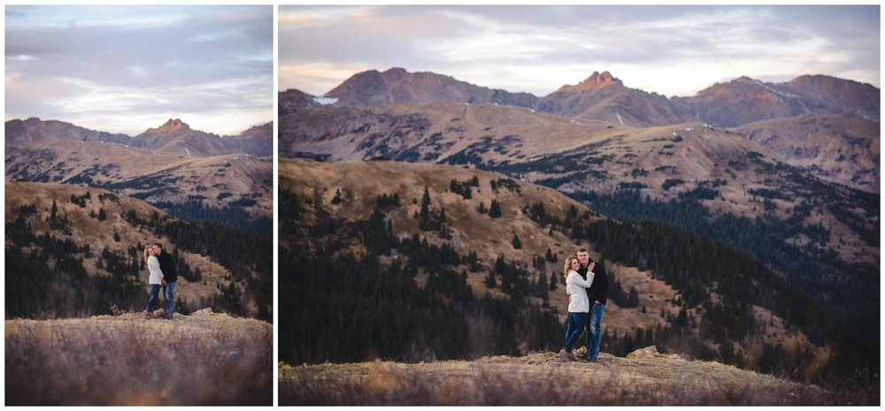 Engagement photo with Colorado mountain view