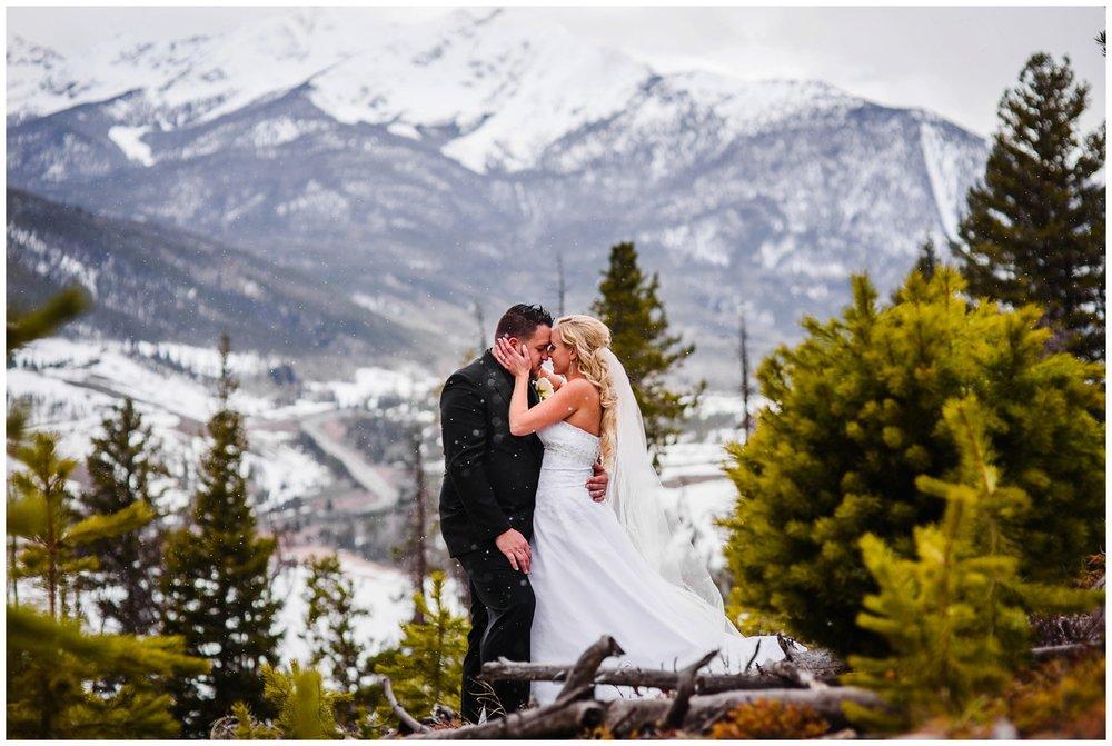 Snowy Colorado mountain wedding photo