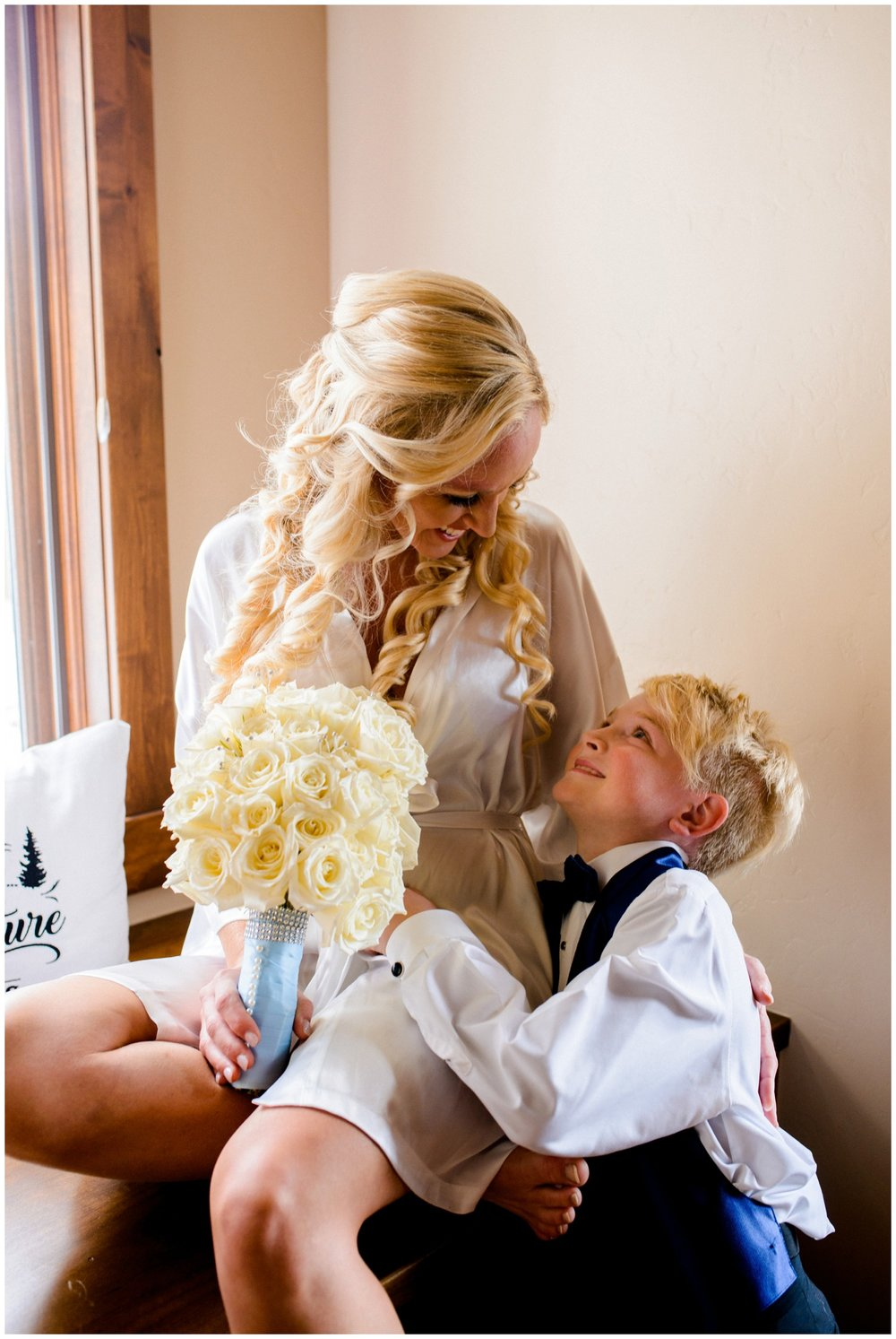 mother and son on wedding day