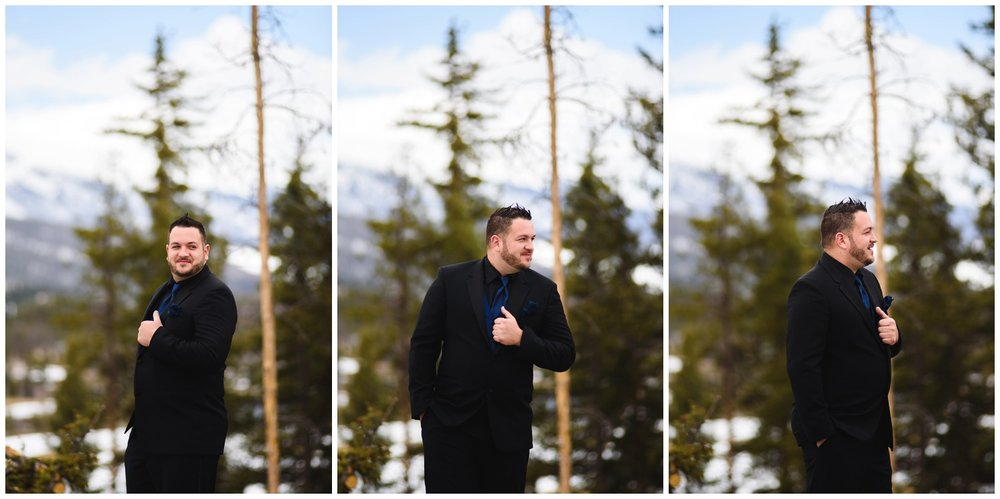 groom first look reaction in Colorado