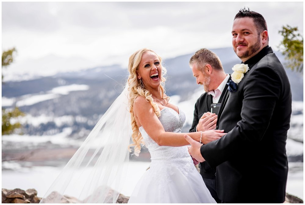 bride laughs at Sapphire point ceremony