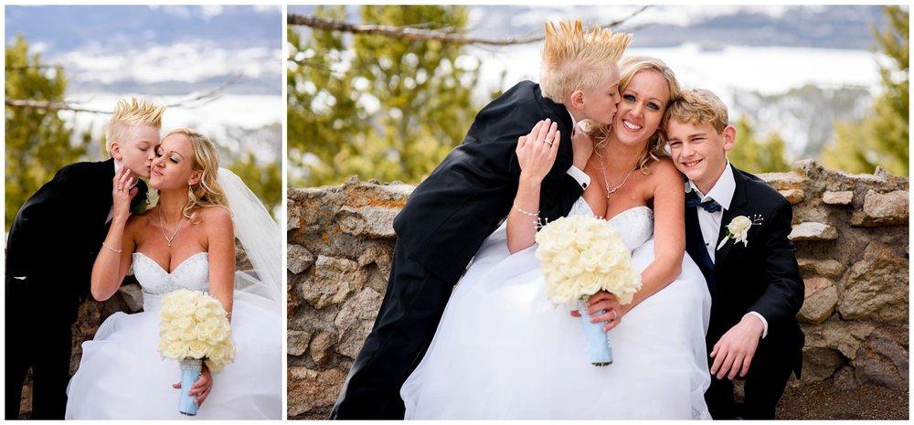 Bride with sons at Colorado Wedding