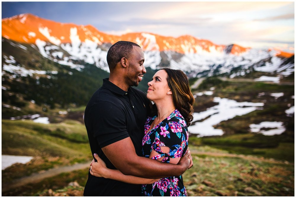 sunset engagement photo on Loveland Pass