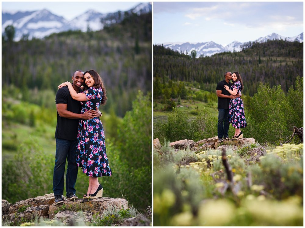 Summit County engagement photo in mountain field