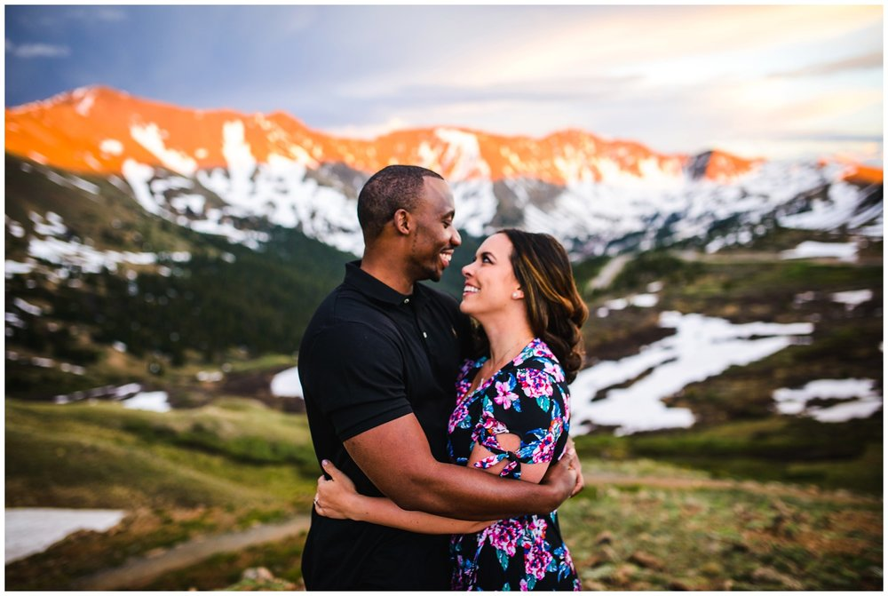 Loveland Pass sunset engagement photo