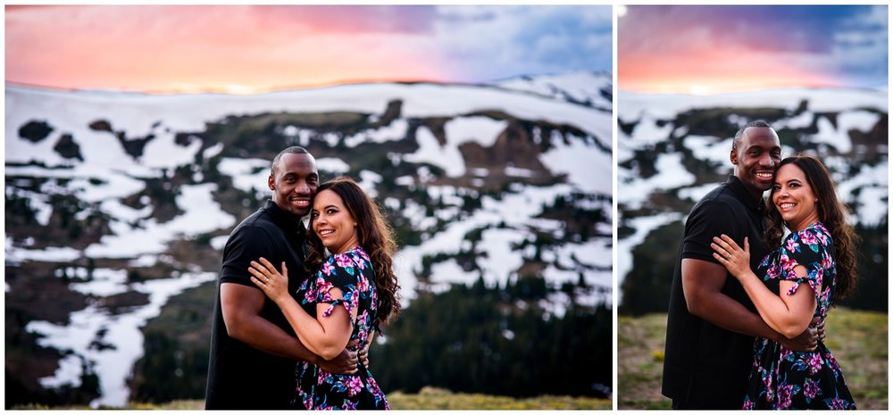 Colorado mountain pink sunset engagement photo