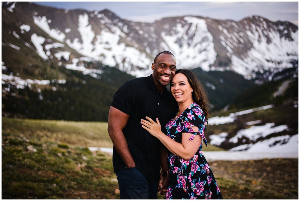 adventurous mountain engagement photo in Colorado