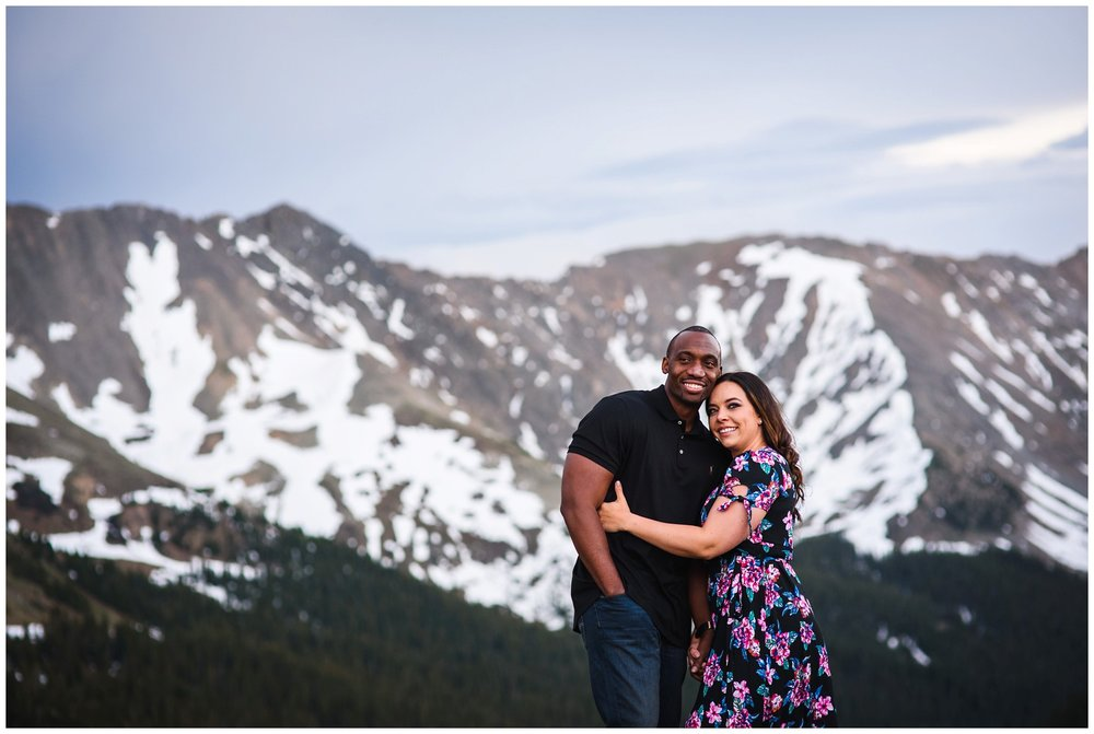 Alpine mountain engagement photo